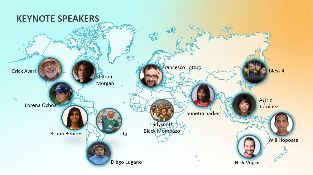 rootstech connect 2021 keynote speakers world map with speakers photos