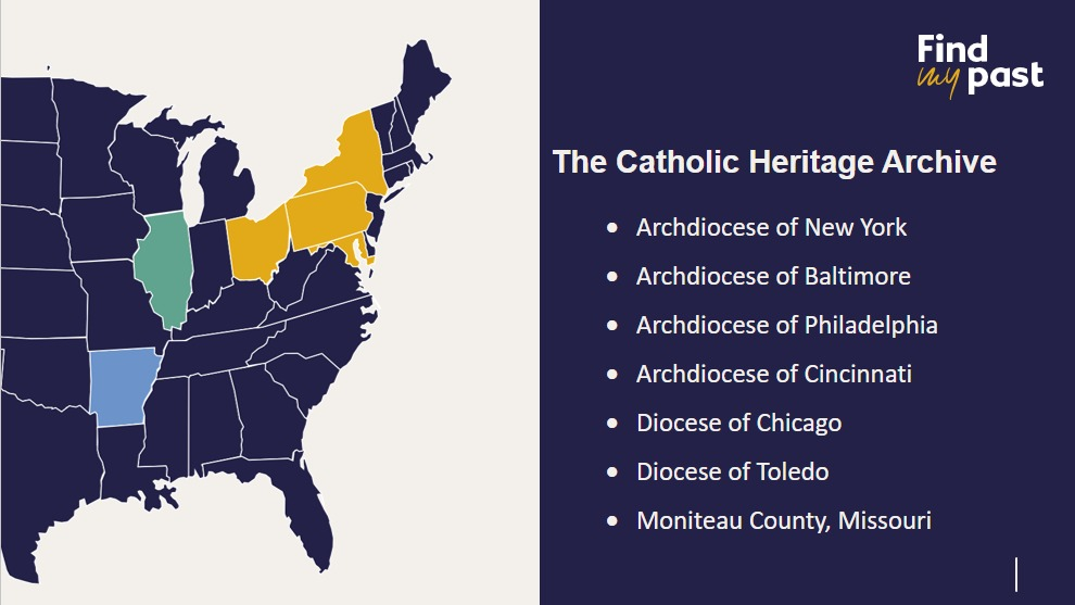 Map of Catholic records for the United States from the Catholic Heritage Archive at Findmypast