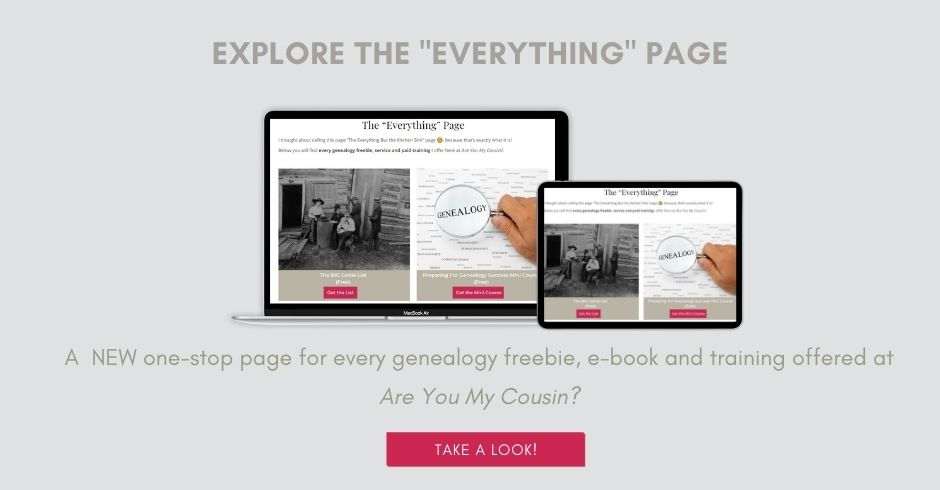 Explore the Everything Page. Mock up of laptop and tablet for genealogy resources