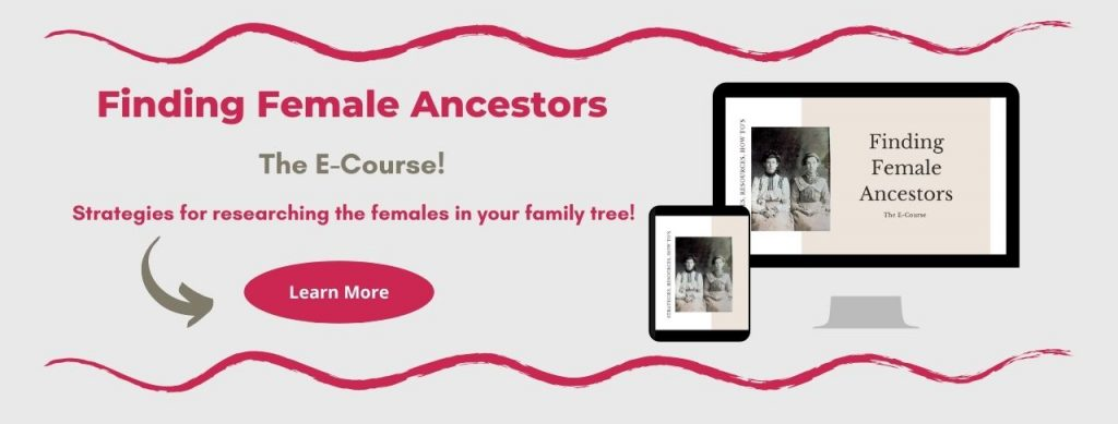 "Promo for Finding Female Ancestors E-Course with red ""Learn More"" button and Laptop/ipad mockup"
