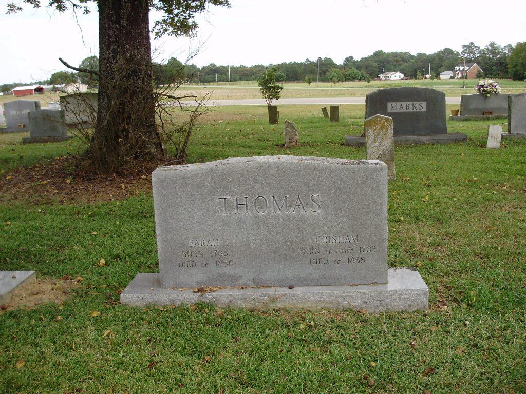 Gravestone of Sarah and Grisham Thomas
