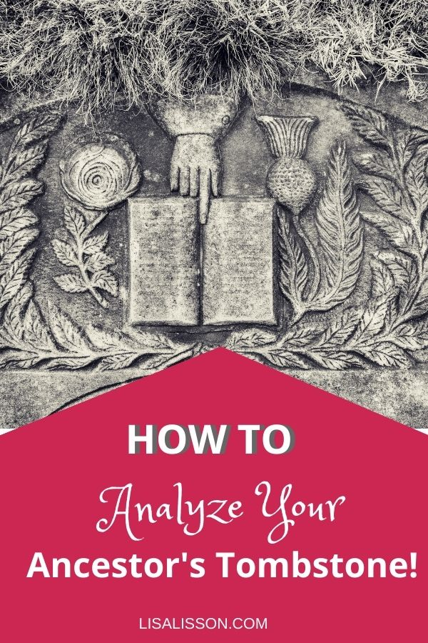Pin with flat gravestone with hand and open book. Title reads How to Analyze Your Ancestor's Tombstone