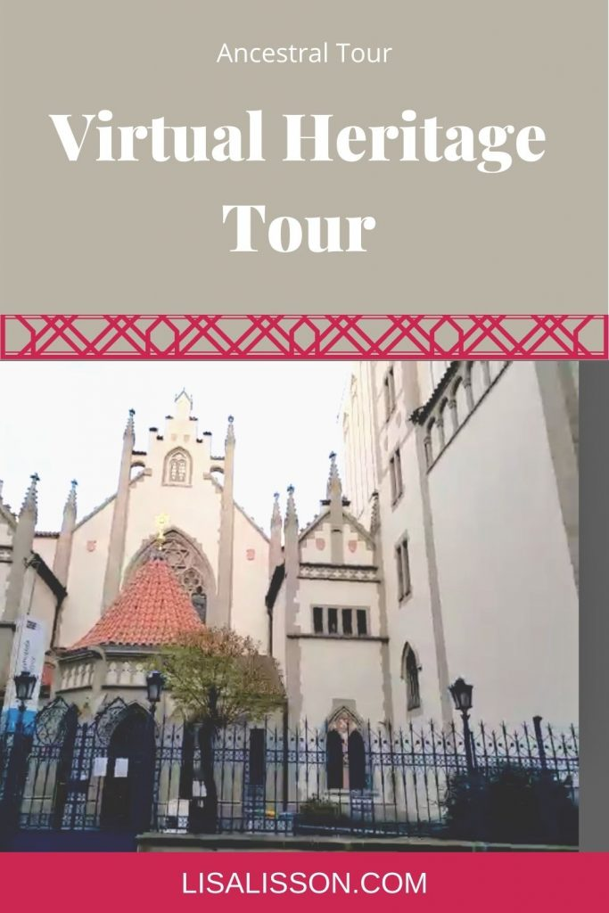 """Picture of Maisel Synagogue in Prague with word on tan background """"Walk where your ancestors walked"""""""