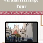 """white words on tan backgournd """"take a virtual heritage tour"""" and pic of Maisel Synagogue"""