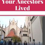 """white words """"walk where your ancestors lived"""" on red background with picture of Maisel Synagogue"""