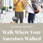 """2 tourists - one man in yellow shirt and one female in white shirt pointing and the words """"Walk where you Ancestors Walked"""""""