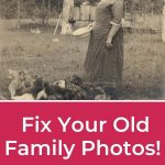 sepia photo of woman feeding chickens with white words on red background readhing fix you old fmaily photos