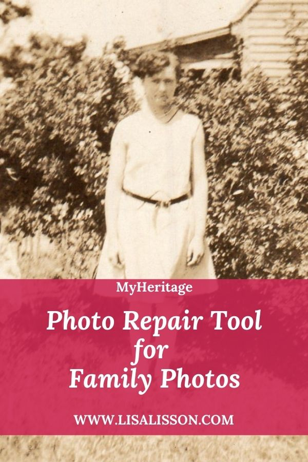 sepia photo of woman in white 1920's dress with words Photo repair tool for family photos