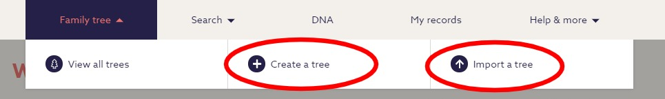 Menu bar for findmypast's starting a family tree