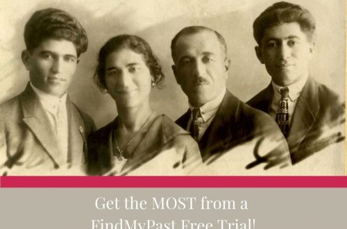 old family photo of 4 people with white words on tan background reading Get the Most from a Findmypast free trial.