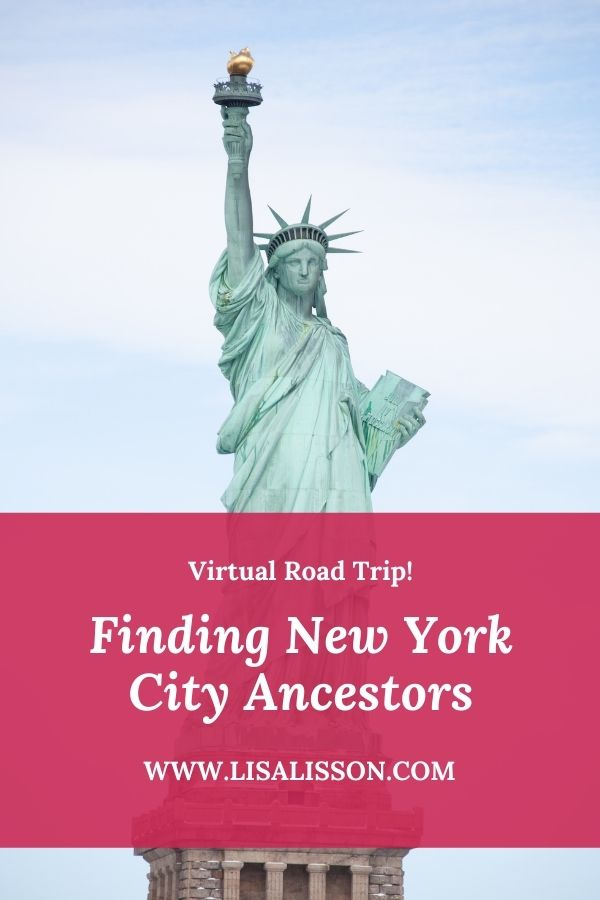 Background photo of Statue of Liberty. White words on red background reading Finding New York City Ancestors