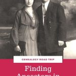 old photo of couple. White words on red background reading Finding New York City Ancestors