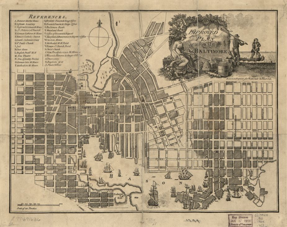 Historic map of Baltimore, Maryland date 1804.