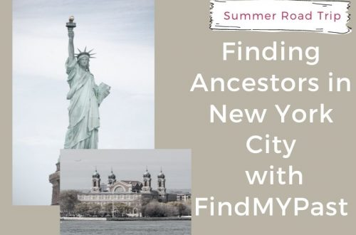 Title photo with statue of liberty and ellis island with white words on tan background reading Finding Ancestors in New York City with Findmypast