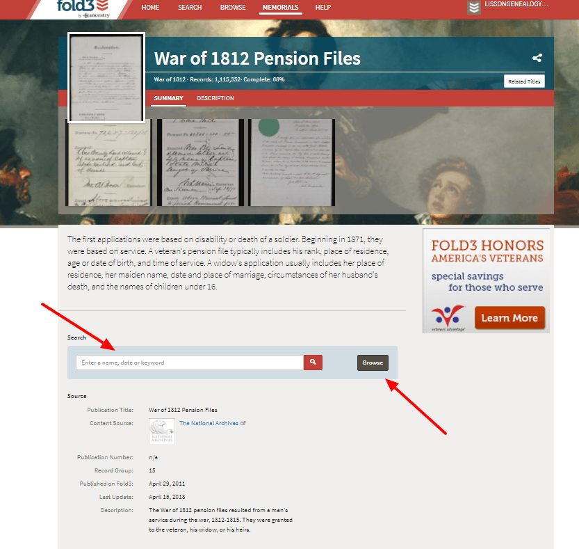 War of 1812 Pension records search at fold3
