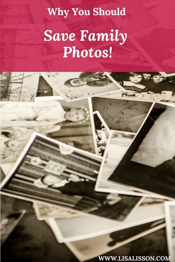Scattering of black and white photos and white words on red background reading Why You Should Save Family Photos