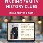 Laptop with webinar for finding family history clues displayed