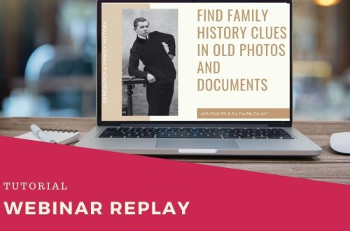 laptop with webinar for finding family history clues on screen. Red diagonal in left corner with white text reading webinar replay