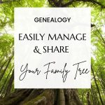 Large green leafy tree with white box and black text reading Genealogy Easily manage and share your family tree
