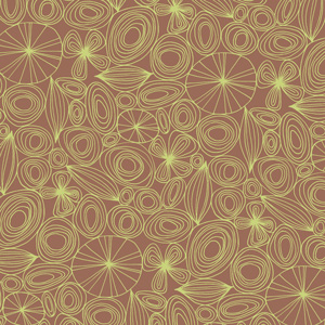 Succulents Mod Linear Brown Green Pattern