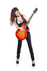 Elle with electric guitar