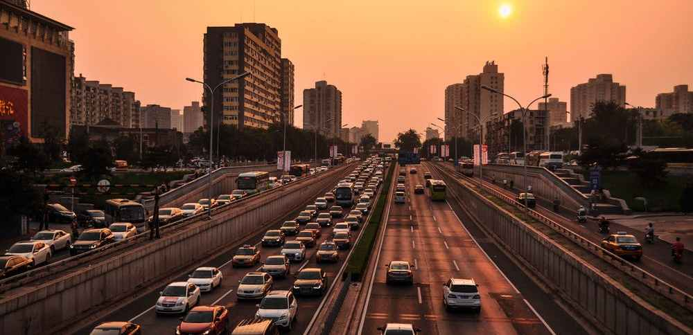 busy city highway at sunset