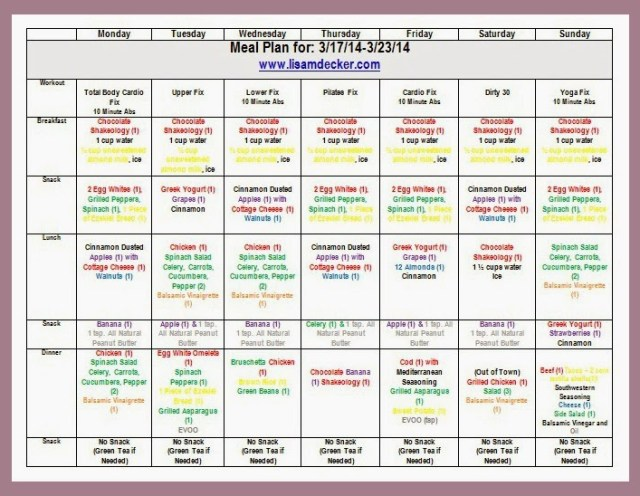 Customized Meal Plan, 21 Day Fix Meal Plan