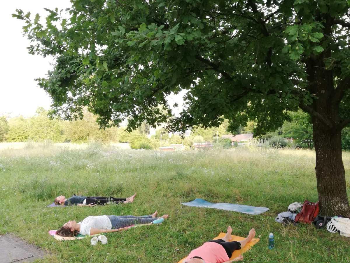 Yoga auf der Werdinsel Outdoor Yoga Zürich
