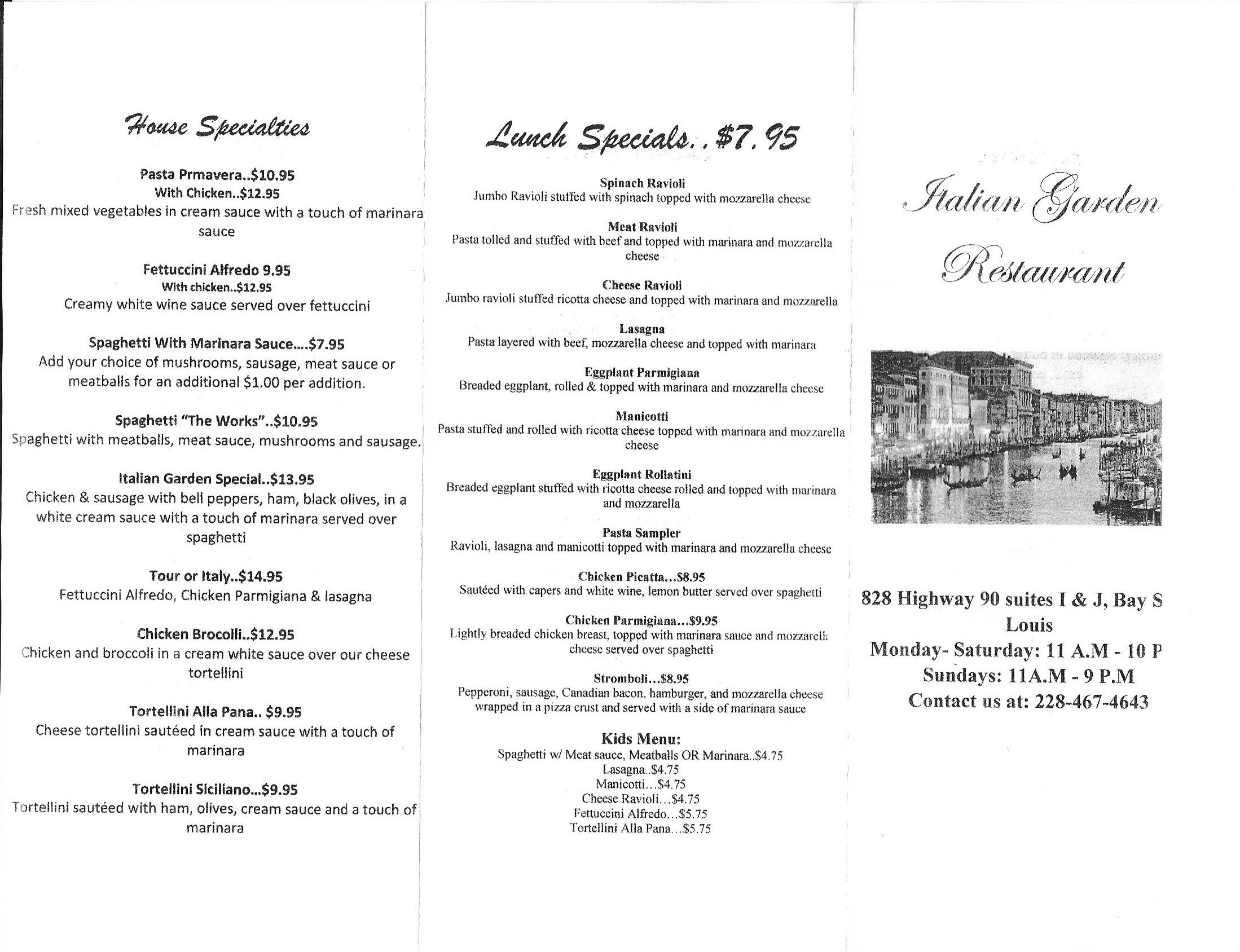 Italian Garden opens today. Here\'s the menu. | Lisa Monti\'s Notebook