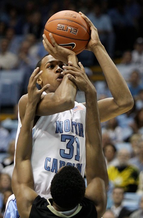 UNC-Chapel Hill's John Henson is fouled as he lines up a shot against Wake Forest University on Wednesday, Jan. 20, 2010 at the Dean E. Smith Center.