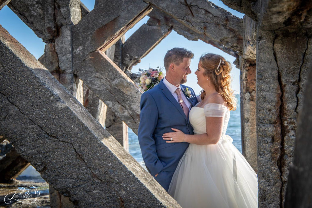 Pencarrow Coast, Bride and Groom, Pencarrow lodge, beach structureq