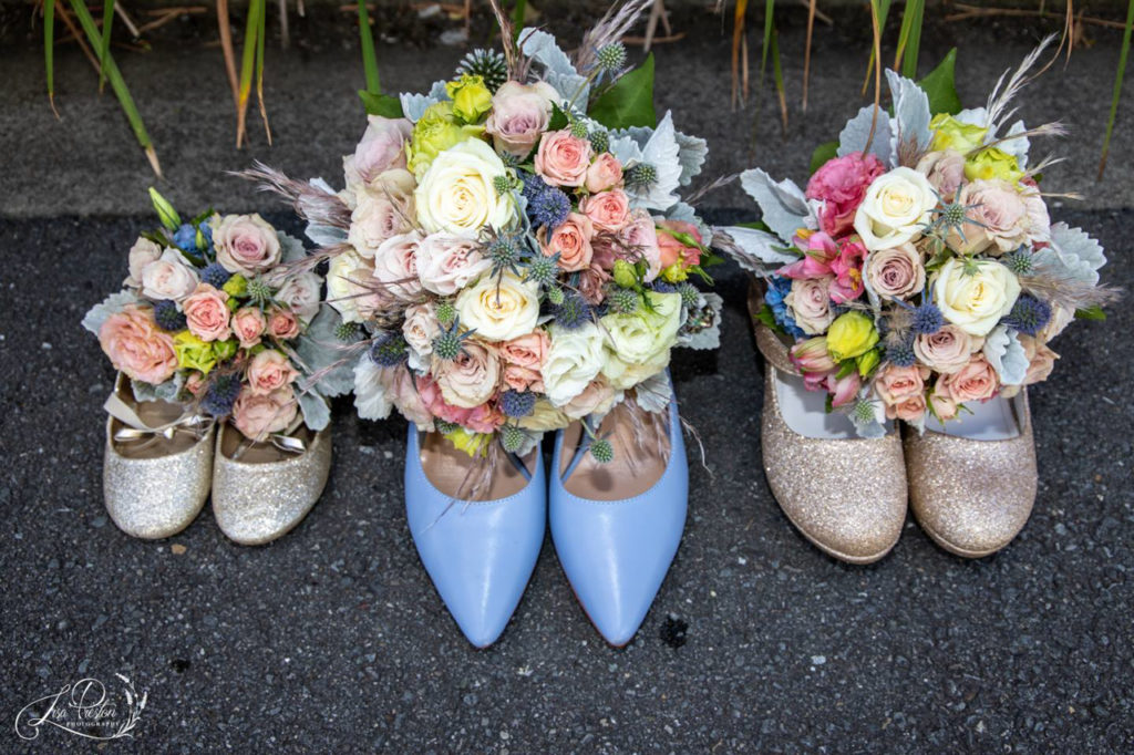 Wedding shoes and bouquets, powder blue, flowers et cetra
