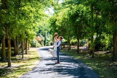 Bride and groom in driveway at Lismore House