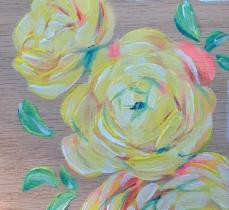 floral test 2, 6x6 in, acrylic on wood -sold