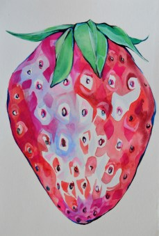 Strawberries-5x9 inch -watercolor on paper $40
