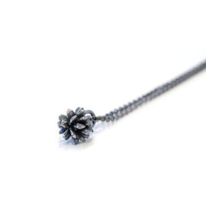 vegan oxidised silver pendant