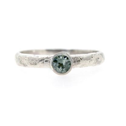 Alternative Engagement Ring - Lichen Textured Malawi Sapphire Front