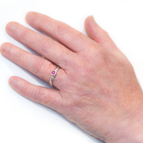 Alternative Engagement Ring - Lichen Textured Pink Sapphire On Hand | Lisa Rothwell-Young