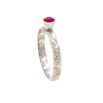 Alternative Engagement Ring - Platinum Pink Sapphire Lichen Texture | Lisa Rothwell-Young
