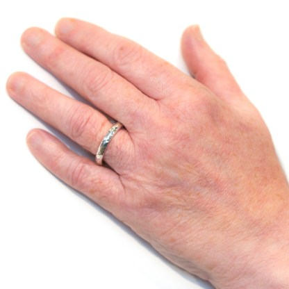 Responsibly Sourced Wedding Ring - Ripple Platinum Gents Hand View   Lisa Rothwell-Young