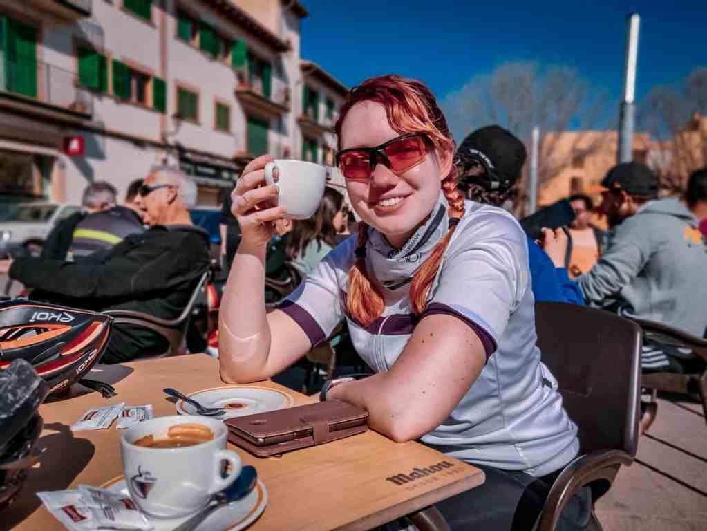 Kaffee Pause in Santa Maria - Rennrad fahren auf Mallorca