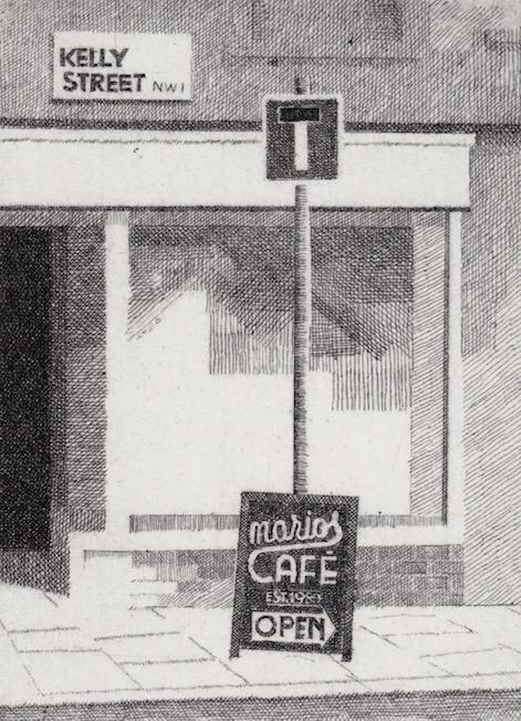 Prints Cafe Street Sign Marios Etching