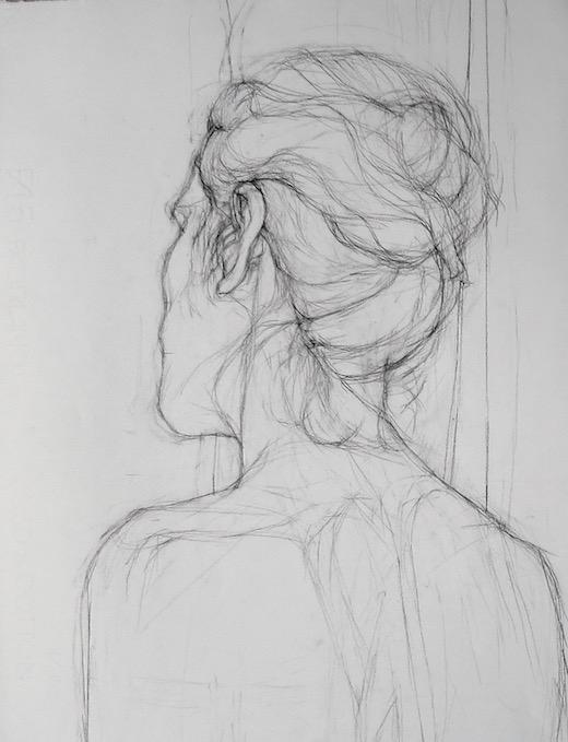 Woman Female Study Back Drawing