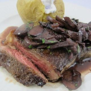 NY Strip Steak with Mushroom Red Wine Sauce