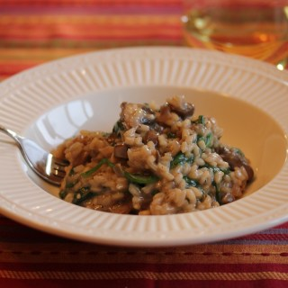 Mushroom and Spinach Risotto with Truffle Oil