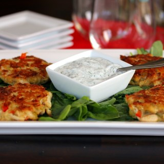 Mini Crab Cakes with Yogurt Dill Sauce