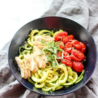 Zucchini Noodles with Roasted Tomatoes, Chicken and Pesto