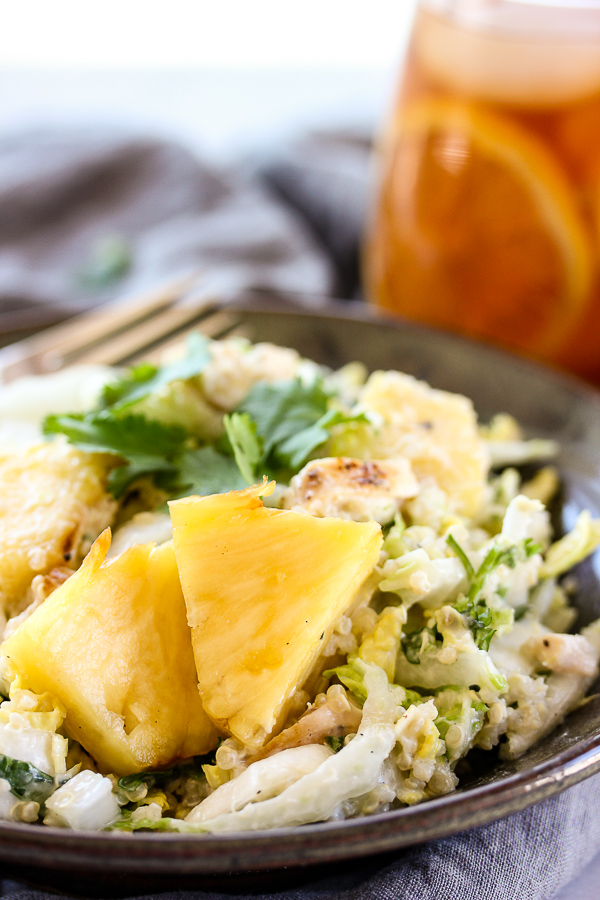 Grilled pineapple, chicken and quinoa salad is a a healthy, summery salad loaded with protein and lots of sweet and savory flavor, as well as a deliciously creamy yogurt dressing. | lisasdinnertimedish.com