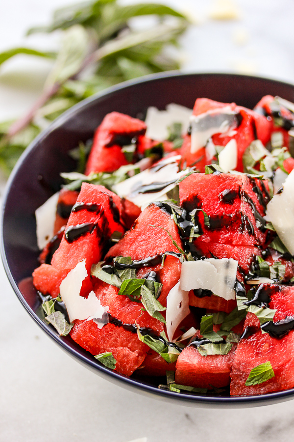 Watermelon mint salad is a refreshing and delicious summer side dish that can be ready in just 5 minutes. | lisasdinnertimedish.com