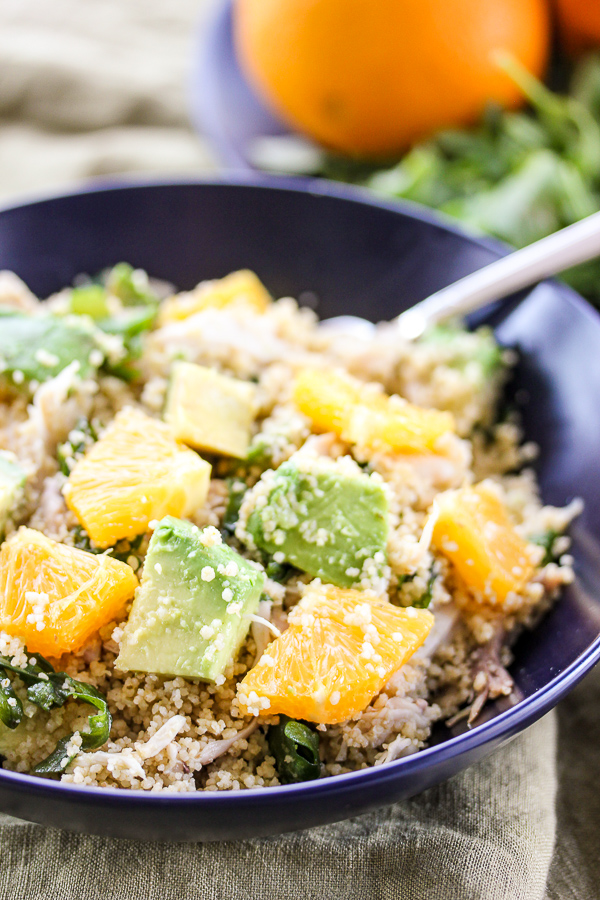Warm Chicken Citrus Couscous Salad is a healthy, flavorful meal that's on the table in under 30 minutes, making it perfect for busy weeknights. | lisasdinnertimedish.com